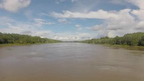 Cruising on the river the Amazon, in the rain forest, Brazil stock video footage