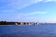 Cruising on a river Neva in Saint Petersburg. Beautiful sky and water royalty free stock image