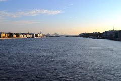 Cruising on a river Neva in Saint Petersburg. Beautiful sky and water royalty free stock photo