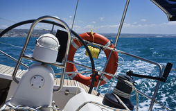 Cruising on a sailing boat Stock Photography