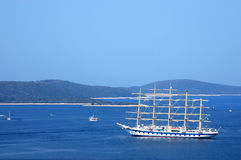Hvar-Cruising with sailing boat on the Adriatic se Stock Images