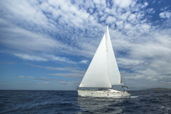 Cruising on a sailing boat. Boat in sailing regatta. Royalty Free Stock Photo