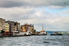 Cruising ship docking on Galata pier on Bosporus, Istanbul Stock Photography