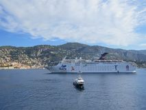 Cruising ship Ibero in a lagoon of Villefranche by Nice royalty free stock image