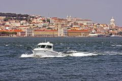 Cruising on the Tagus. With Lisbon at the background in Portugal Royalty Free Stock Photo