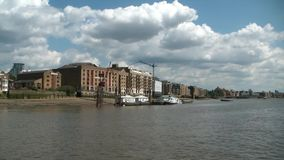 Cruising on thames river, london, heading to greenwich stock video