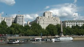 Cruising on thames river, london, heading to greenwich stock video footage