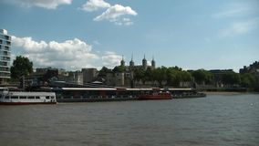 Cruising on Thames river, London, London tower stock footage
