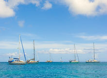 Cruising yachts in the windward islands Stock Images