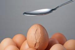 Crujido de la cuchara un huevo Fotos de archivo libres de regalías