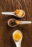 Crujiente con la crema batida del queso, acompañada con los anacardos del anacardo y del anacardo y el mignon del cerdo Fotos de archivo
