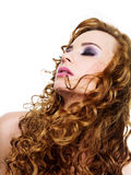 Cruly cabelos longos Fotografia de Stock Royalty Free