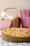 Crumb cake on a kitchen towel Royalty Free Stock Image