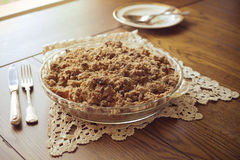 Crumb topped apple crisp pie. Crumb topped apple crisp dessert with setting royalty free stock photos