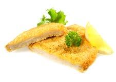 Crumbed chicken or pork fillet stock image