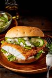 Crumbed fish burger with cucumber. On a fresh cursty bun served on a brown pottery plate over a rustic wood surface with copy space royalty free stock image