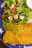 Crumbed Fish. Delicious fried crumbed fish with kipfler potatoes and a fresh garden salad stock image
