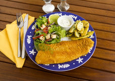 Crumbed Fish. Delicious fried crumbed fish with kipfler potatoes and a fresh garden salad stock photos