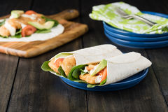 Crumbed fish fillet burrito with avocado and tomato Stock Image