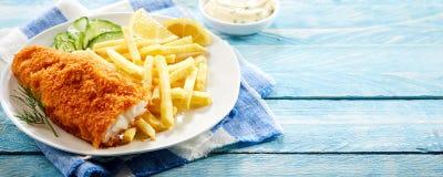Crumbed fritou a faixa do bacalhau Imagem de Stock Royalty Free