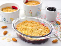 Crumble. The traditional dessert crumble portion forms stock photography