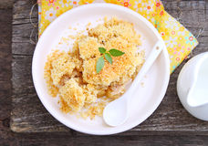 Crumble with apple. And cinnamon stock image
