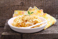 Crumble with apple. And cinnamon royalty free stock photo