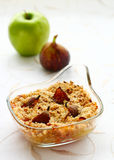 Crumble with apple and figs Stock Photo
