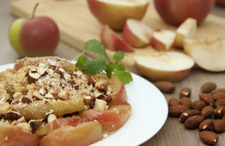 Crumble with baked apples. Stock Photos