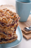 Crumble bars cake with jam. And almonds royalty free stock images