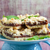 Crumble bars with fig filling Stock Photography