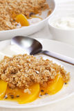 Crumble with Peach and Passion Fruit Stock Image