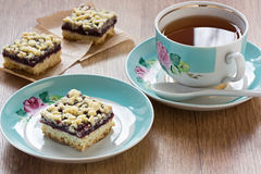 Crumble Pie And Cup Tea Royalty Free Stock Image