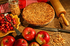 Crumble pie with apples and cranberries Stock Image