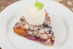 Crumble pie with black currants Stock Photography