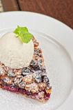 Crumble pie with black currants Stock Photos