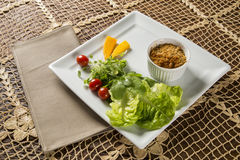 Crumble with salad. Gourmet food Royalty Free Stock Photography
