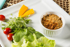 Crumble with salad. Gourmet food Royalty Free Stock Images