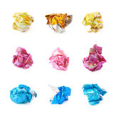 Crumbled ball of colorful paper isolated Royalty Free Stock Photo