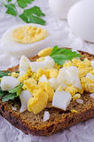Crumbled boiled eggs Royalty Free Stock Images