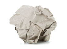 Crumbled brown recycled paper ball on white background Stock Photography