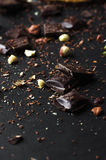 Crumbled chocolate with nuts Stock Image