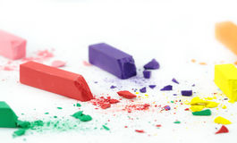 Crumbled color chalks Royalty Free Stock Image