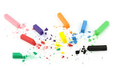 Crumbled color chalks. Stock Photos