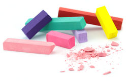 Crumbled color chalks Royalty Free Stock Photo