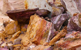 Crumbled colorful rocks. Royalty Free Stock Image