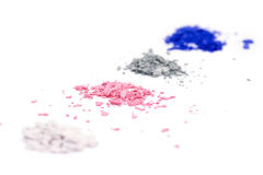 Crumbled colour shadows for make-up. Closed-up crumbled colour shadows for make-up Royalty Free Stock Photo