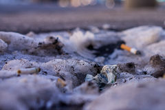 Crumbled dollar note on street. A crumbled dollar note among trash on the street in Moscow Royalty Free Stock Photos