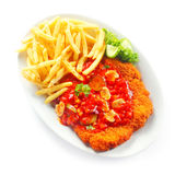 Crumbled Escalope with Fries on White Plate Royalty Free Stock Photos