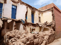 Crumbled house. Old crumbled house in the streets of Marrakesh, Morocco Royalty Free Stock Photo